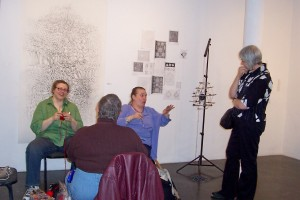 """Several impromptu knitting circles developed. Here Alison, Rosmary (who worked on Robyn Love's """"Water Tower Cozy"""", Deb (back to us ) and Janet Koplos (art writer)"""