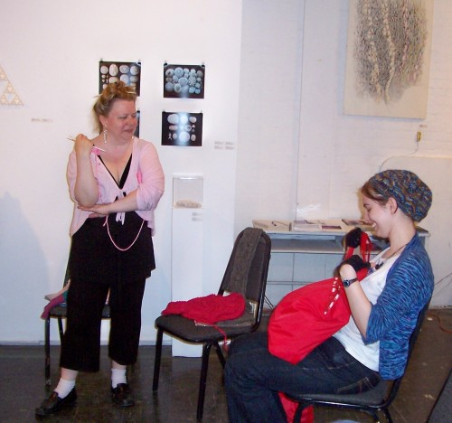 Lisa with one of her former students who got hooked on lace knitting after taking Lisa's classes
