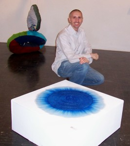 """Another incredible intern, Gray (he built the pedestal for Kate Fenker's """"Blue Dew Drop"""""""